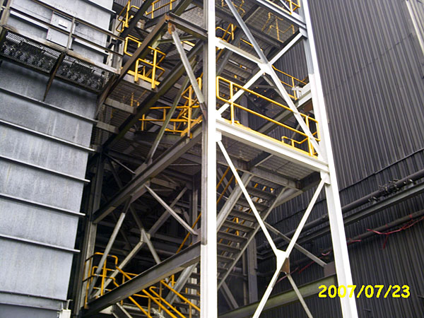 Staircase Tower Support : Structural steel fabrication gray welding